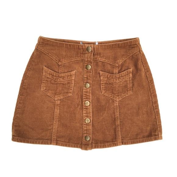 Kendall & Kylie Dresses & Skirts - KENDALL & KYLIE Corduroy Tan Mini Button Skirt